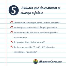 Cinco atitudes que desmotivam a criança a falar