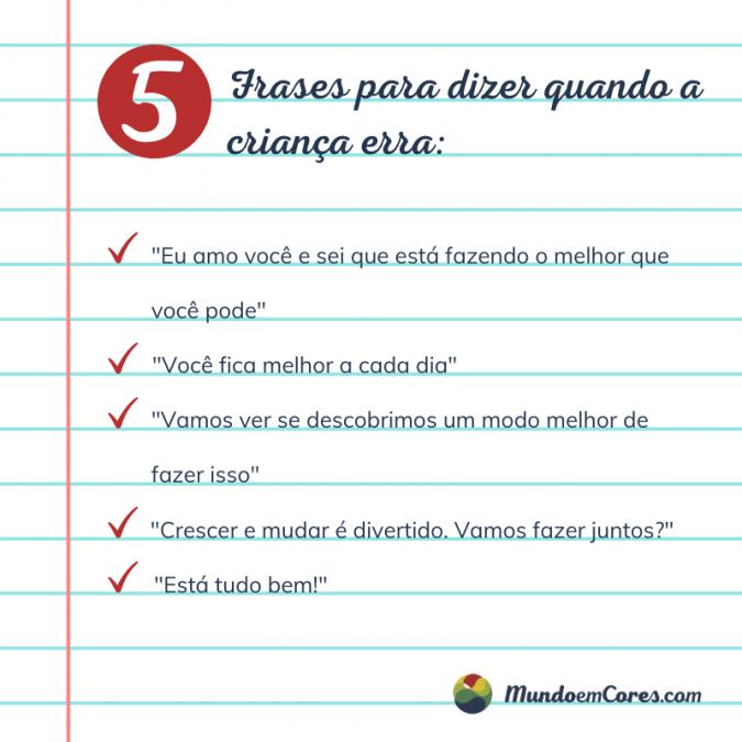 Cinco frases para dizer quando a criança erra